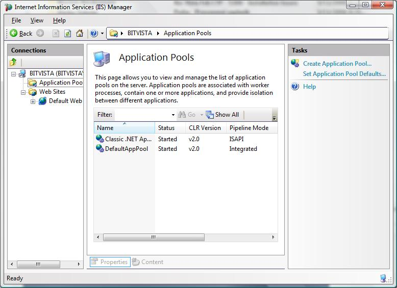Application pool config in IIS7