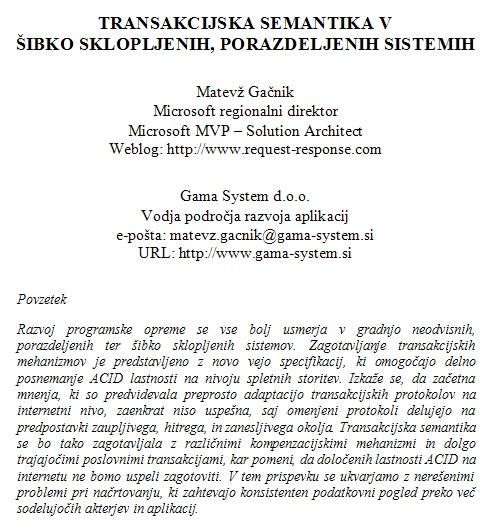 Transakcijska semantika v šibko sklopljenih, porazdeljenih sistemih