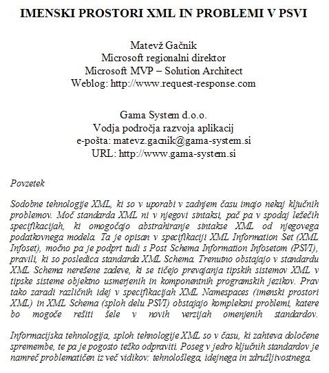 Imenski prostori XML in problemi v PSVI