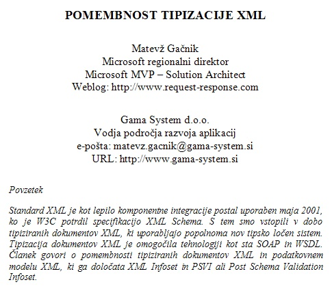 Pomembnost tipizacije XML