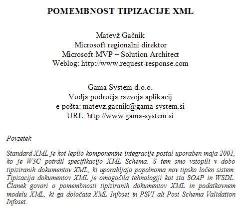 Pomembnost tipizacije XML